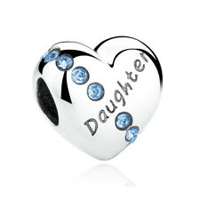 I Love You Heart S925 Sterling Silver Bead Charm inscribed Daughter
