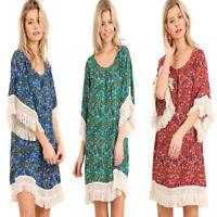 UMGEE Womens Boho Pheasant Chic Bohemian Paisley Fringe 3/4 Sleeve  Dress S M L