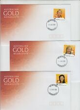 Stamps Australia 2008 Olympic Games Gold Medalists set of 14 FDCs Casterton