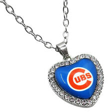 New Chicago Cubs Necklace Crystal Heart Charm Simulated Diamonds Pendant Jewelry