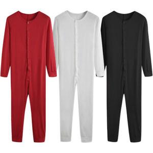 Mens One-Piece Soild Colour Button Down Jumpsuit Fitness Underwears Pajamas Hot