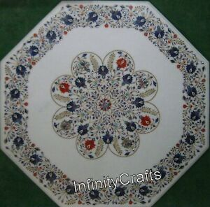 36 Inches Marble Dining Table Top White Hallway Table with Semi Precious Stones