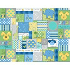 LITTLE ONE FLANNEL TOO Blue Patchwork Quilt Fabric by 1/2 yd Maywood Studio