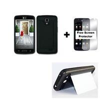 LG Optimus Exceed 2 VS450PP Rugged Hybrid Case +Screen Protector - Black