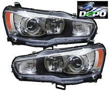 08-15 Mitsubishi Lancer Evo Sportback GTS Headlights Pair Black Housing  DEPO