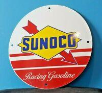 VINTAGE SUNOCO GASOLINE PORCELAIN GAS SERVICE STATION PUMP PLATE RACK SIGN