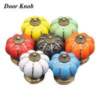 Calabaza cerámica cajón  armario Pomo de puerta gabinete de cocina Tirador