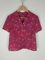 CAMICIA VINTAGE MANICHE CORTE Shirt Maglia Chemise Hemd Tg 44 Woman Donna