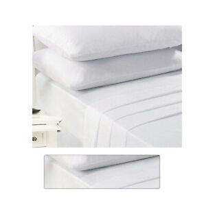 Fitted Bed Sheets Double Extra Deep White Non Iron Percale Polycotton Double Bed
