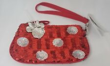 Disney Parks Minnie Mouse Red Sequin Polka Dot Glitter Coin Purse Wristlet - New