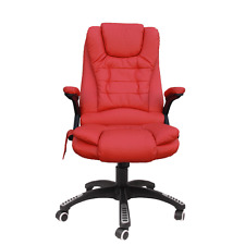 Kidzmotion red leather high back reclining office chair with massage and heat