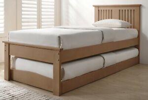 Oak wood guest bed,underbed,trundle,overnighter wooden frame 3ft single