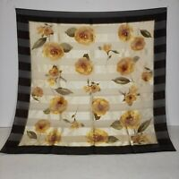 "Oscar De La Renta Silk Scarf Beautiful Floral Yellow Roses 35"" x 35"""