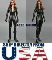 """1/6 Black Leather Jumpsuit For Black Widow Catwoman For 12"""" PHICEN Figure USA"""