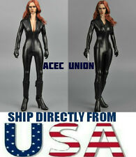 "1/6 Black Leather Jumpsuit For Black Widow Catwoman For 12"" Figure U.S.A. SELLER"