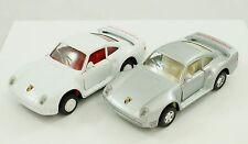 Vintage Majorette Porsche 959 Silver & White Diecast 1:34 Model Car Lot of 2