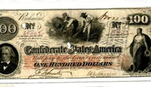 """$100 """"SLAVES HOEING""""(CONFEDERATE)  $100 """"RARE"""" (WATERMARKED PAPER) 1800'S RARE!!"""