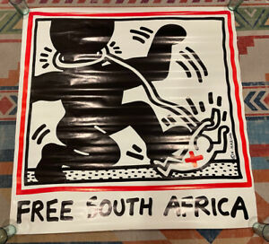 KEITH HARING FREE SOUTH AFRICA POSTER 1985 Pop Shop NYC Vintage 1980's