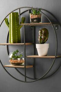 Retro Industrial Style Circle Wall Shelf Round Shelving Unit Metal Wood Storage