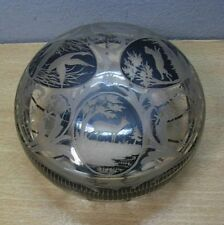 Art Deco Cut Glass Box with Hunting Scene #M