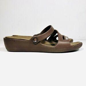 Crocs Womens size 6 Brown Patricia Sandal Strappy Slip On Slide