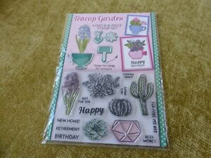 RUBBER STAMPS & DIE SET  TEA CUP  FLOWERS CATI BIRTHDAY RETIREMENT NEW HOME