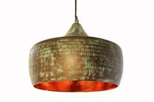 Copper pendant Light Green Patina/Farmhouse Hammered Chandelier light vintage
