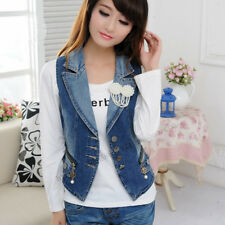 Women Denim Vest silm Pearl Brooch Zipper Pocket Denim Vests Denim Waistcoat