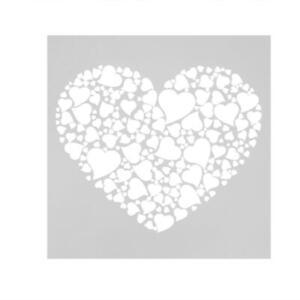 Heart Cake Stencil Fondant Template Buttercream Spray Mold Mould Baking Kit