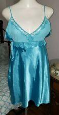New listing Vintage Delicates Blue Satin Nightgown Slip Liquid Satin Large Gorgeous Sissy