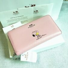 NEW COACH SNOOPY PINK LEATHER ACCORDION ZIP AROUND WALLET #53773