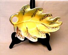 Vintage California USA Pottery #809 Yellow Leaf Candy Dish Gold Trim