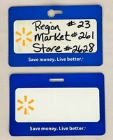 Lot of 2 Walmart Employee Name Badge Tags ~ 1x Blank, 1x Store #'s