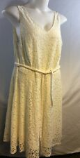 Sharagano Woman Belted Flare Lace Dress Cream Color Fully Lined Size 16W