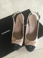 chanel slingback 39 silk heels shoes pumps