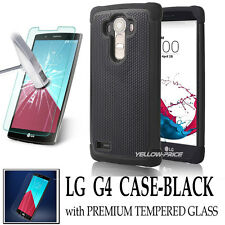 LG G4 Case Extreme Hard Military Heavy Duty Dual Armor Impact | Tempered Glass