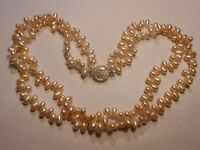 """Quality Cultured Pink Pearl 2 strand 17"""" NECKLACE Sterling Big Filigree Clasp"""