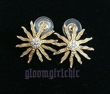 FLOWER-SUNBURST Stunning Earrings 14K Yellow Plated CZs Pierced BRAND NEW!