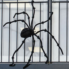 "50"" Huge Giant Halloween Black Furry Poseable Monster Spider Prop Decoration"