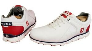 FOOTJOY PROSL 53243 SPIKE LESS MAN GOLF SHOES WHITE/RED/BLUE LEATHER SZ 11M