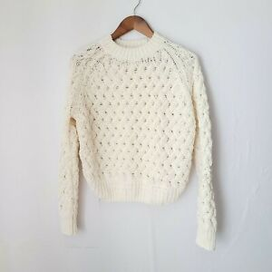Kendall + Kylie Pullover Sweater M Chunky Knit Cream SOFT
