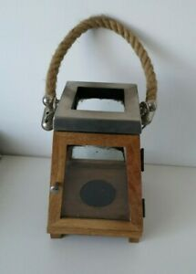 Rustic Wooden/Glass/Metal Pillar Candle Lantern With Rope Handle
