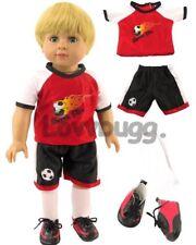 Red Soccer Uniform w SHOES Flame for American Girl Boy Doll LOVV DA LOVVBUGG 🐞