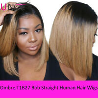 Brazilian Ombre Short Bob Straight Human Hair Lace Front Wigs 150% Density T1B27