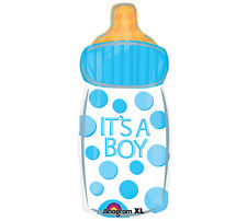 """It's A Boy Baby Bottle Large 23"""" Foil Balloon Polka Dot Baby Shower Party 3 Pack"""