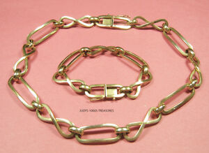 """14k SOLID GOLD NECKLACE 16.50"""" AND BRACELET 7""""   t/w 41.90gr.  MADE IN SLOVENIA"""