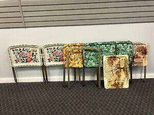 Vintage Folding Snack Table lot set stand metal side tv cart mid century modern