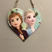 Disney Frozen 2 Anna & Elsa Wooden Hanging Heart Door Hanger Sign Decoupaged