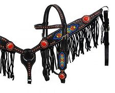 Showman BLACK Leather Headstall and Breastcollar Set w Multi Colored Bead Design