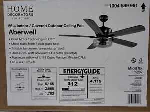 Aberwell 56'' LED Matte Black Indoor/Outdoor Ceiling Fan w/ Light & Remote HDC